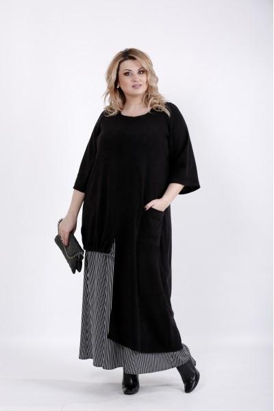 Фото Черное асимметричное платье | 01022-3