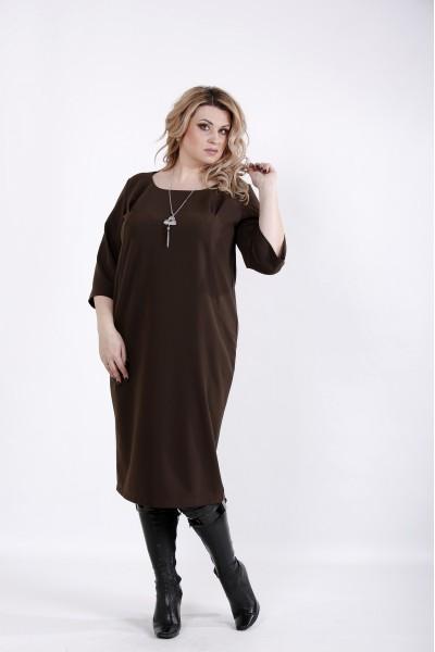 Фото Шоколадное платье ниже колена | 01023-1