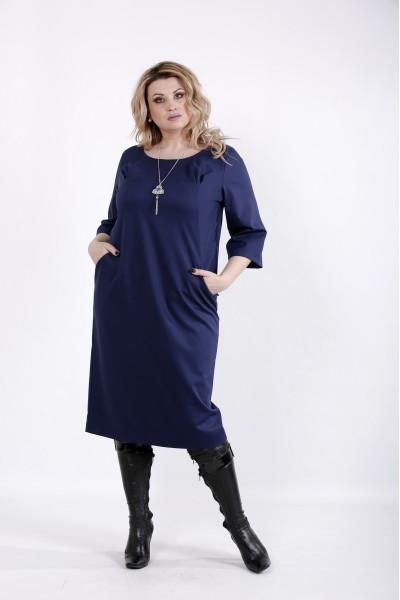 Фото Свободное синее платье | 01023-2