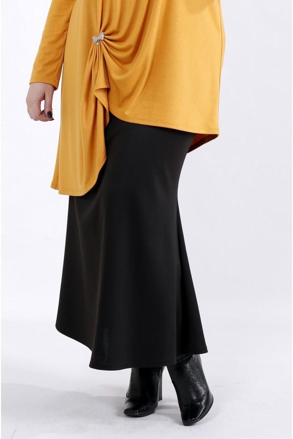 Фото Черная длинная трикотажная юбка | 01024-1