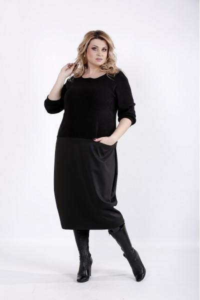 Фото Черное платье ниже колена | 01025-2