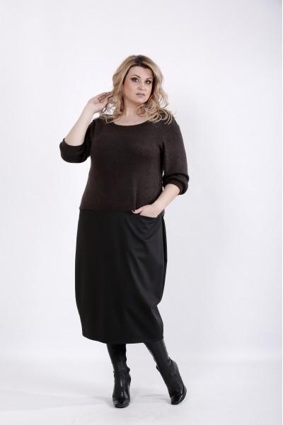 Фото Шоколадное платье с юбкой | 01025-3