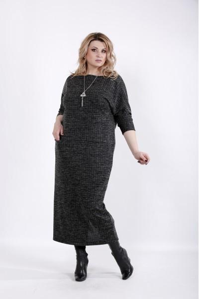 Фото Черное мягкое платье в клетку | 01026-1