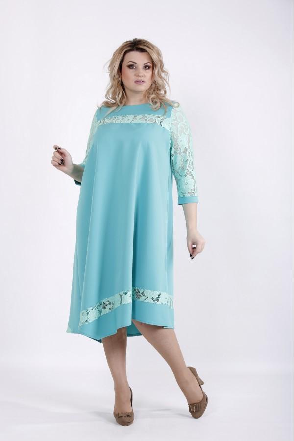 Фото Нежное бирюзовое платье с гипюром | 01028-2