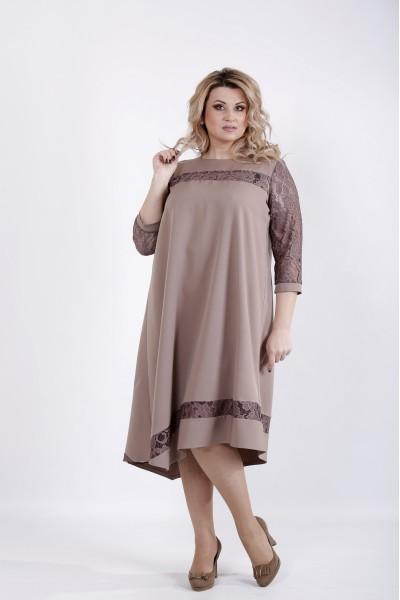 Фото Бежевое платье с рукавами из гипюра | 01028-3