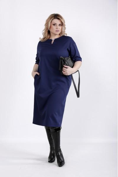 Фото Синее платье из вискозы | 01029-1