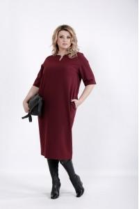 Фото Простое и элегантное бордовое платье | 01029-3