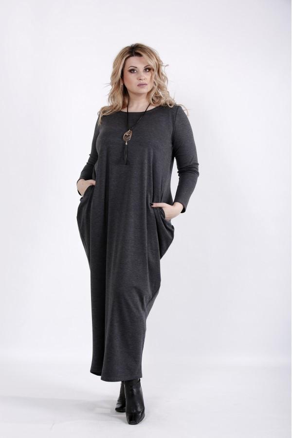Фото Серое скрывающее платье | 01030-2