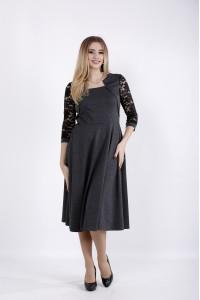 Фото Темно-серое платье с гипюром на рукавах | 01033-1