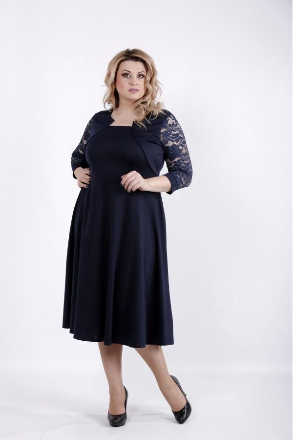 Фото Синее платье из трикотажа | 01033-2