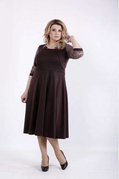 Фото Шоколадное трикотажное платье | 01033-3