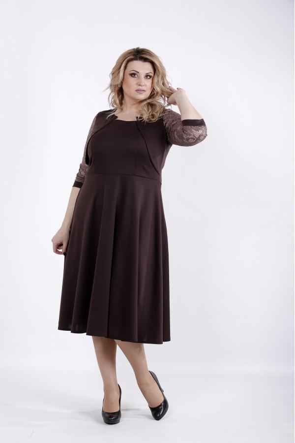Фото Шоколадное трикотажное платье   01033-3