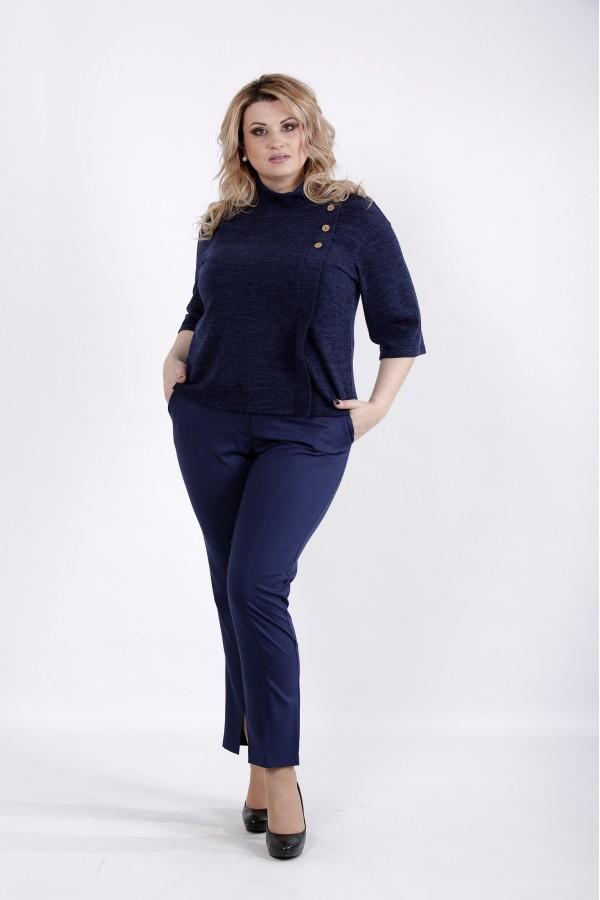 Фото Синяя теплая блузка | 01035-2