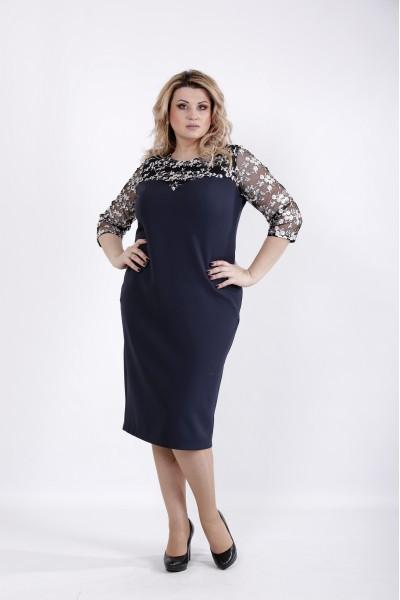 Фото Синее стильное платье с вышивкой | 01037-1
