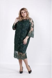 Фото Зеленое комбинированное платье | 01038-1