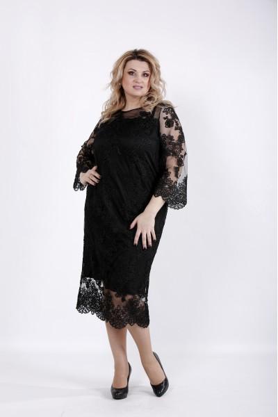 Фото Черное платье с вышивкой | 01038-3