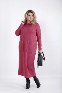 Фото Малиновое платье с карманами | 01041-1