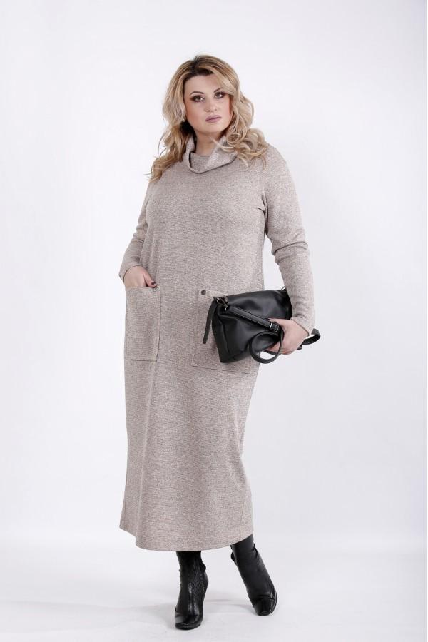 Фото Бежевое платье в пол | 01041-2
