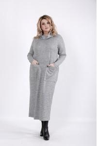 Фото Серое длинное платье макси | 01041-3
