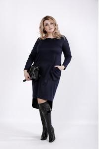Фото Темно-синее платье, сзади длиннее | 01042-2