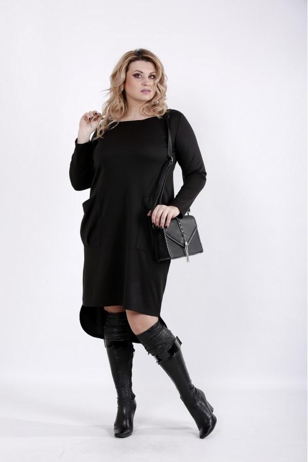 Фото Черно повседневное платье | 01042-3
