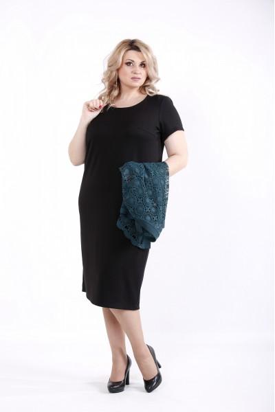 Фото Чорна сукня і зелена накидка | 01045-2