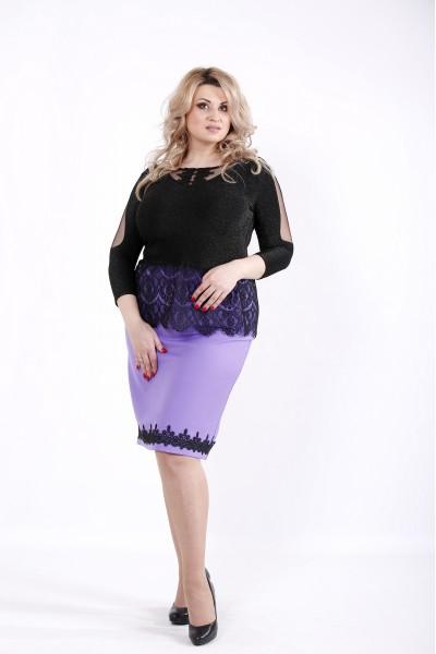 Фото Сиреневая юбка с блузкой и кружевом | 01046-2
