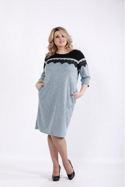 Фото Бирюзовое трикотажное платье из ангоры | 01047-3