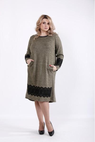 Фото Горчичное платье миди | 01048-2