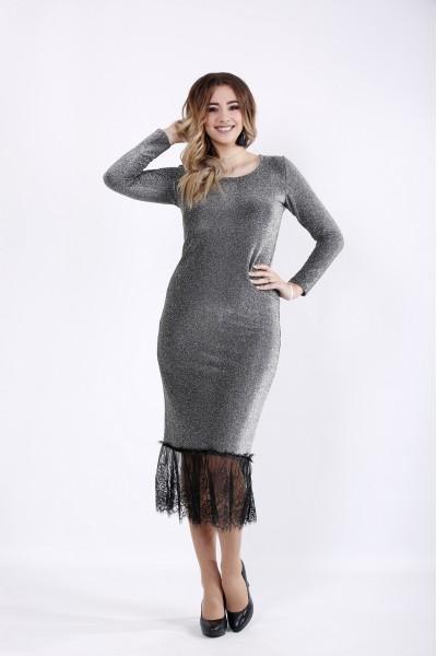 Фото Модное платье футляр с люриксом синее | 01049-1