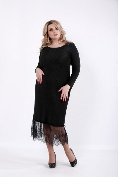 Фото Черное платье с ниткой люрикс | 01049-3