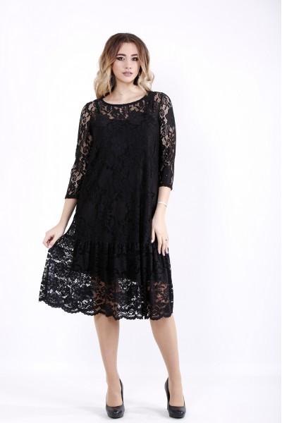 Фото Черное трикотажное платье с гипюром | 01050-1