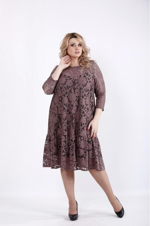 Фото Нарядное платье мокко с гипюром | 01050-3