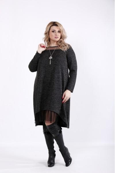 Фото Черное платье с сеткой и ниткой люрикс | 01051-3
