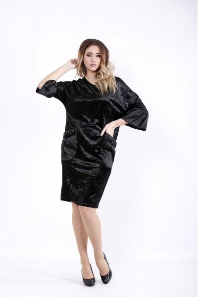 Фото Черное велюровое платье | 01052-2