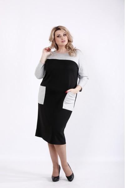 Фото Черное трикотажное платье с карманами | 01053-1