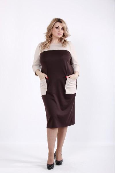 Фото Шоколадное платье с карманами | 01053-2