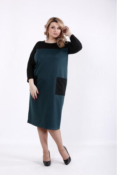 Фото Зеленое с черным платье | 01053-3