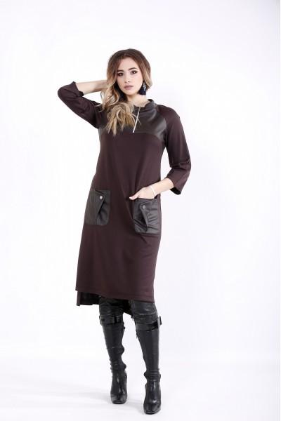 Фото Шоколадное платье с карманами и вставками из эко-кожи | 01054-1