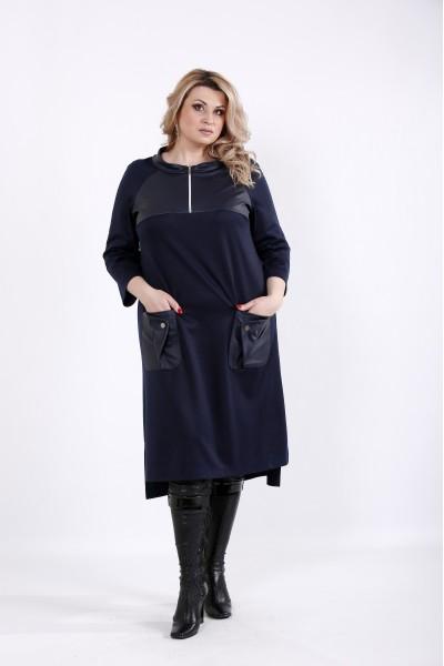 Фото Синее платье с эко-кожей | 01054-2