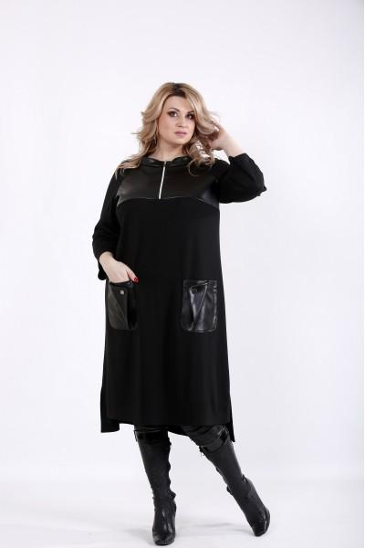 Фото Черное платье с эко-кожей и карманами | 01054-3
