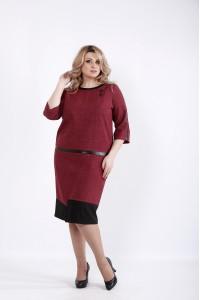 Фото Бордовое платье из габардина | 01058-2