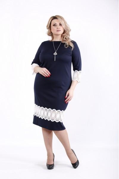 Фото Синее платье с кружевом | 01059-1