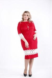 Фото Красное яркое платье из трикотажа с кружевом | 01059-3