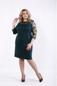 Фото Зеленое стильное платье с рукавами сеткой | 01060-3