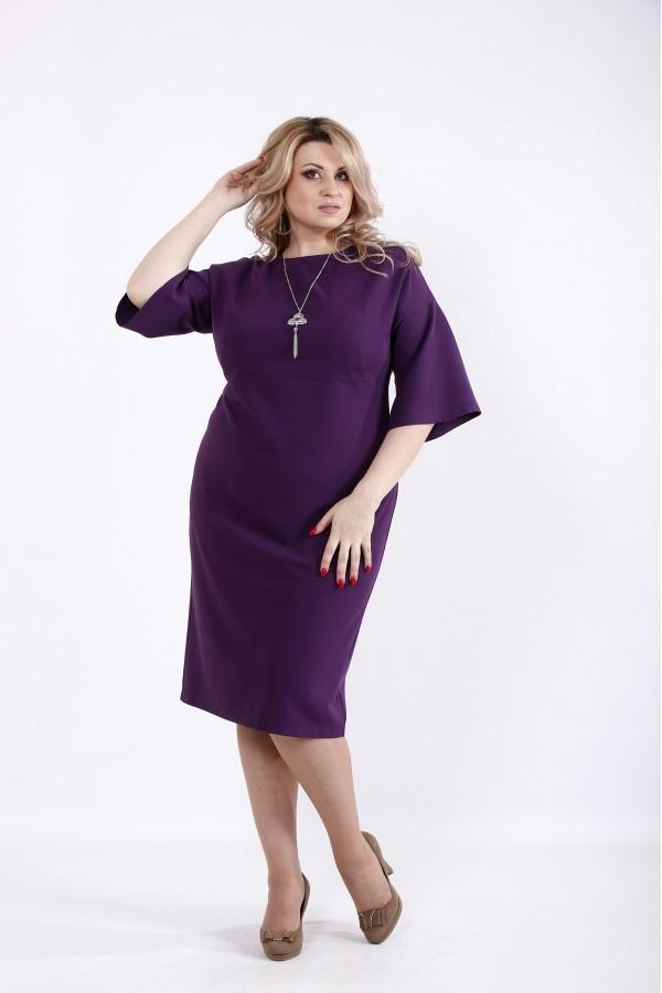 Фото Баклажанное платье до колена | 01061-3
