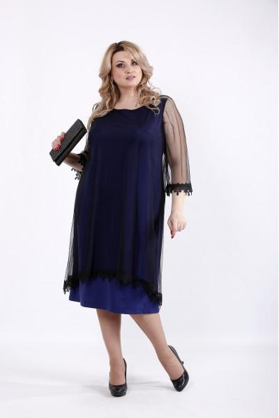 Фото Фиолетовое платье с органзой | 01063-1