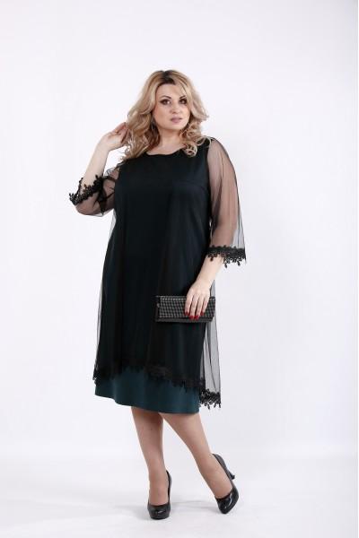 Фото Трикотажное нарядное платье с органзой | 01063-2