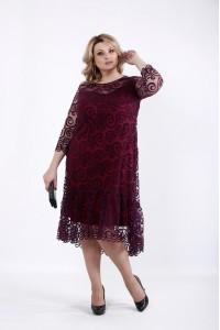 Фото Нарядное платье бордо + сетка | 01064-1