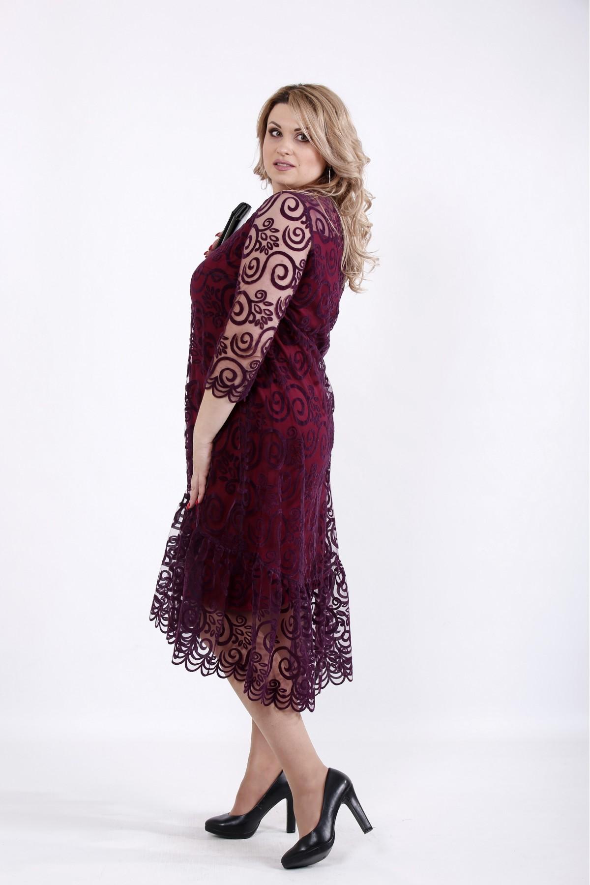 23d7feb18f3d3c Купити Ошатне плаття бордо + сітка   01064-1 ♥ Гаррі Шоп